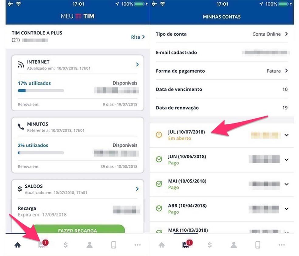 987eb6873 ... Ação para visualizar opções para uma conta da Tim pelo celular — Foto   Reprodução