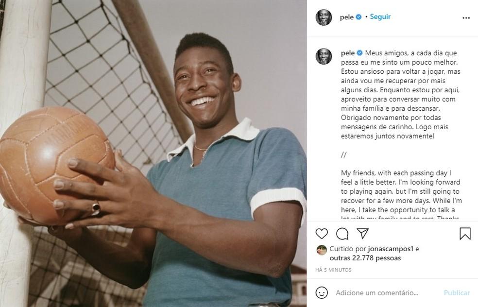 Postagem do rei Pelé no Instagram nesta sexta-feira (10).  — Foto: Reprodução/Instagram