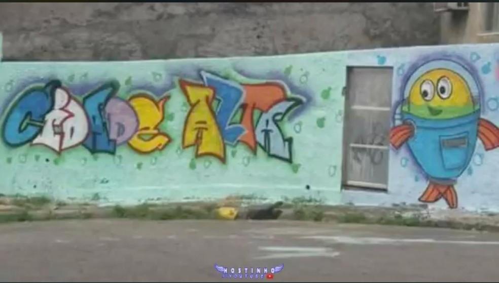 Muro pichado na comunidade de Cidade Alta, na Zona Norte do Rio — Foto: Reprodução