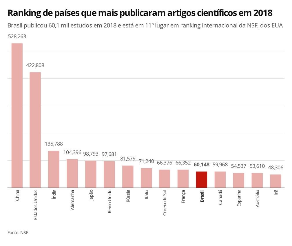 Ranking de países por artigos científicos, de acordo com a NSF — Foto: Elida Oliveira/G1