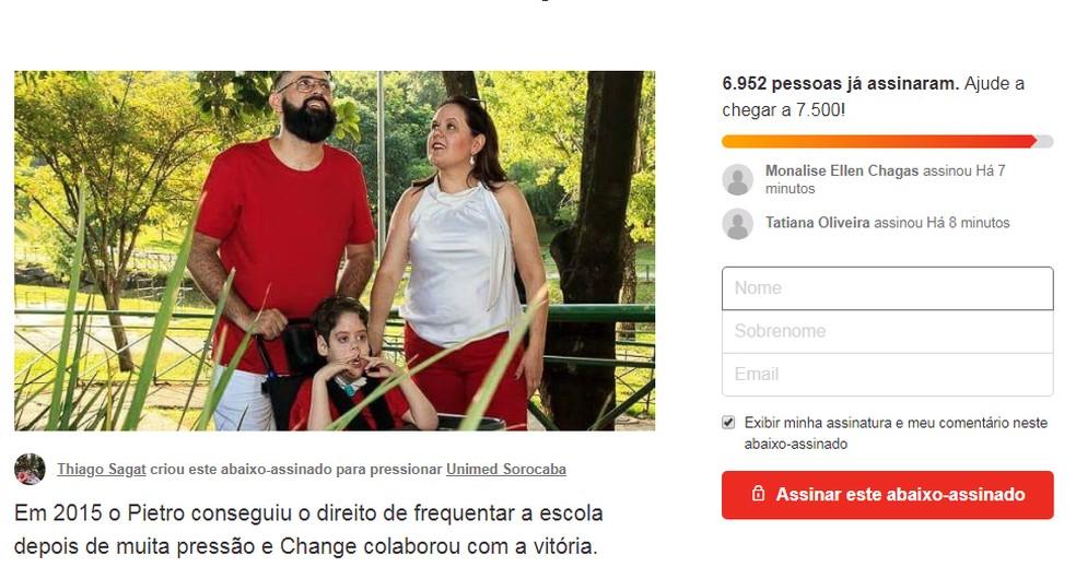 Campanha compartilhada na internet tem mais de 6 mil assinaturas (Foto: Change.org/Reprodução)