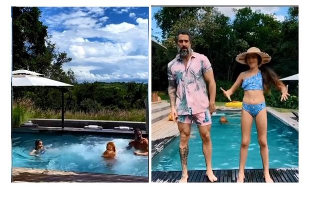 Mion, Donatella e Stefano brincam na piscina construída num deck de madeira e com vista para o campo (Foto: Reprodução)
