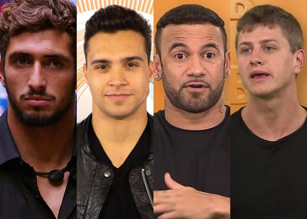 Pela primeira vez, quatro homens foram eliminados no primeiro mês de 'BBB': Lucas Chumbo, Petrix, Hadson e Lucas Gallina. — Foto: Reprodução/Globo