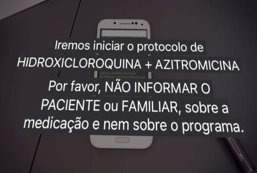 Mensagem pelo Whatsapp mostra que Prevent Senior pedia para não informarem familiares sobre o uso do 'kit Covid' — Foto: Reprodução