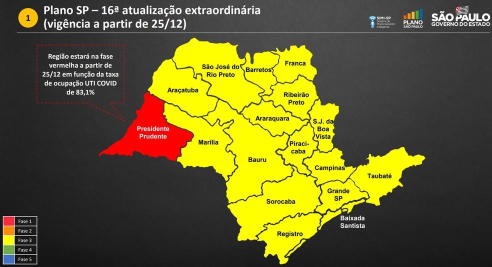 Região de Presidente Prudente foi rebaixada para a fase vermelha, a mais restritiva, do Plano São Paulo — Foto: Reprodução