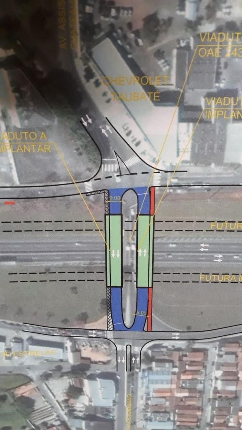 Viaduto vai ter pistas duplicadas e passa de oito para 24 metros de largura (Foto: Divulgação/Prefeitura de Taubaté)