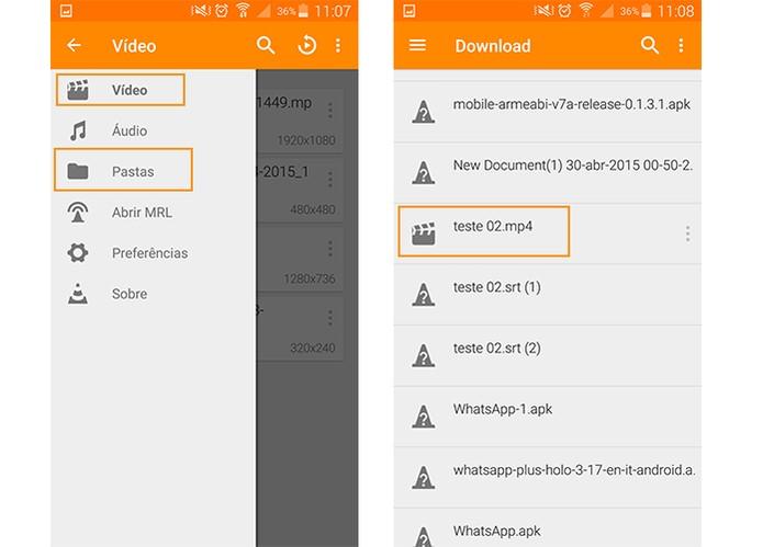 Abra seu vídeo no VLC Player para Android (Foto: Reprodução/Barbara Mananra)
