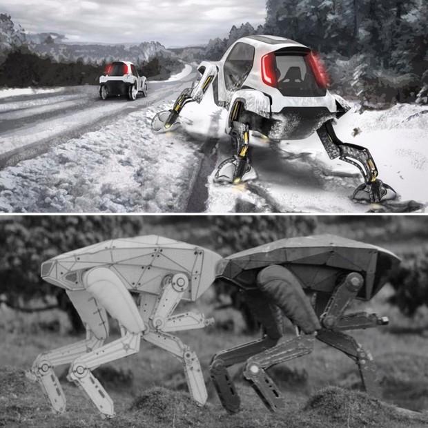 """Acima, o conceito da Hyundai e, abaixo, o robô que aparece no episódio """"Metalhead"""" de Black Mirror. Familiar, não é mesmo? (Foto: Reprodução/Hyundai/Netflix)"""