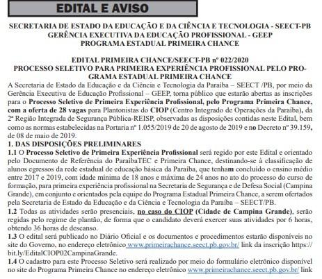 Inscrições para o programa 'Primeira Chance' estão abertas na Paraíba