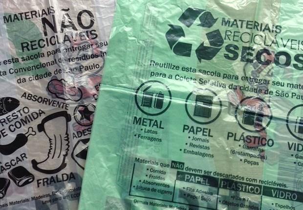 Sacolas plásticas feitas de material renovável, segundo determinação da Prefeitura de São Paulo (Foto: Divulgação)