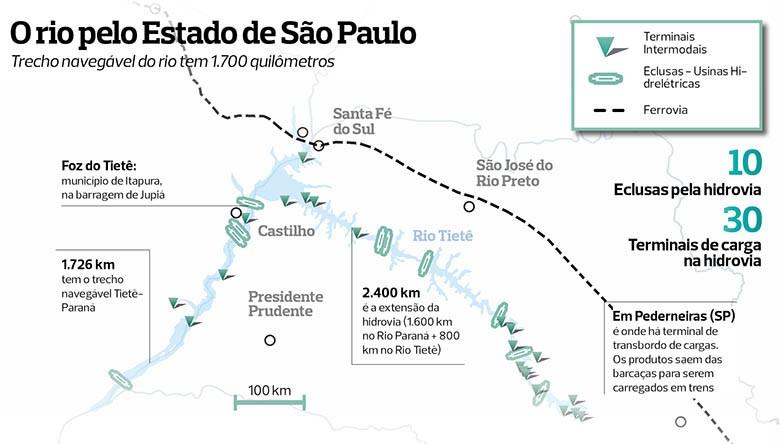 mapa-rio-tiete-rios-do-agro (Foto: Globo Rural)