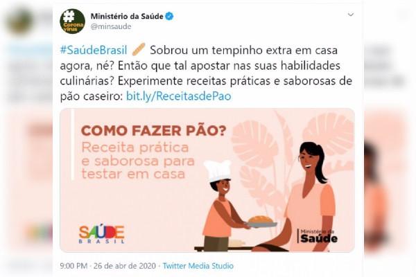 Post do Ministério da Saúde no Twitter