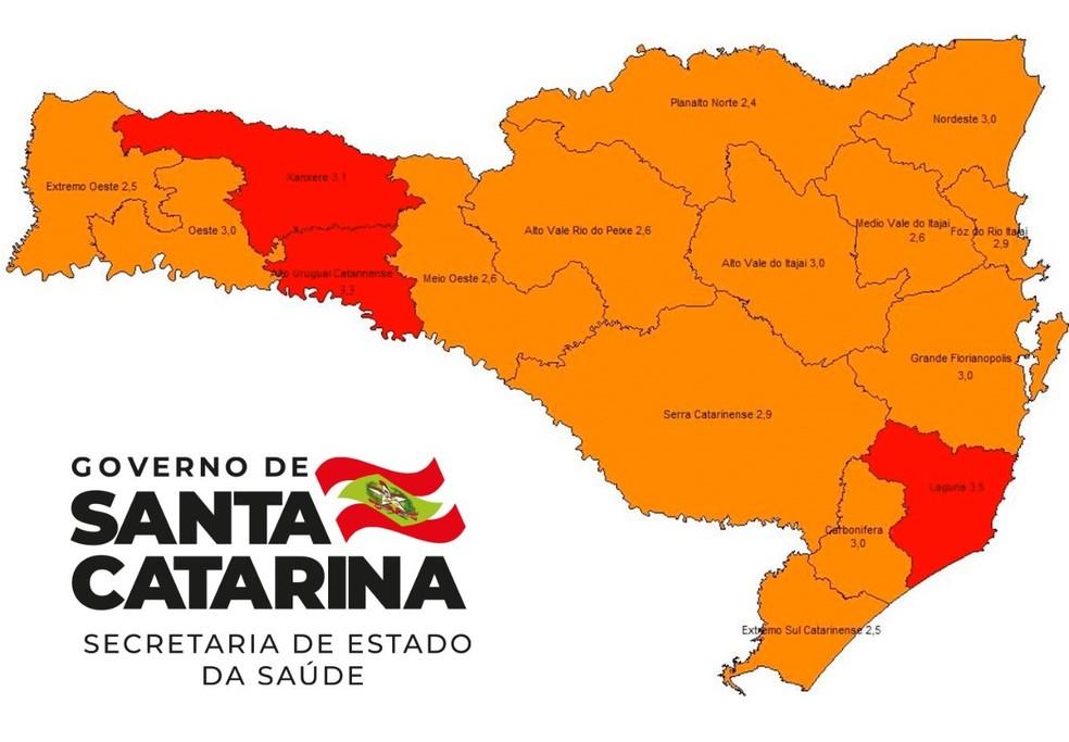Mapa de risco atualizado em 18 de novembro — Foto: Secretaria de Estado de Saúde/Divulgação