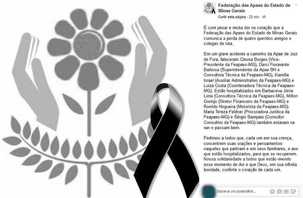 Federação das Apaes de MG divulgou nota de pesar na manhã desta segunda-feira (31) (Foto: Reprodução/Facebook)