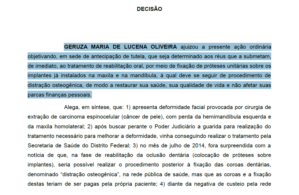 Trecho de decisão de juiz federal sobre caso de Geruza Oliveira (Foto: TRF1/Reprodução)
