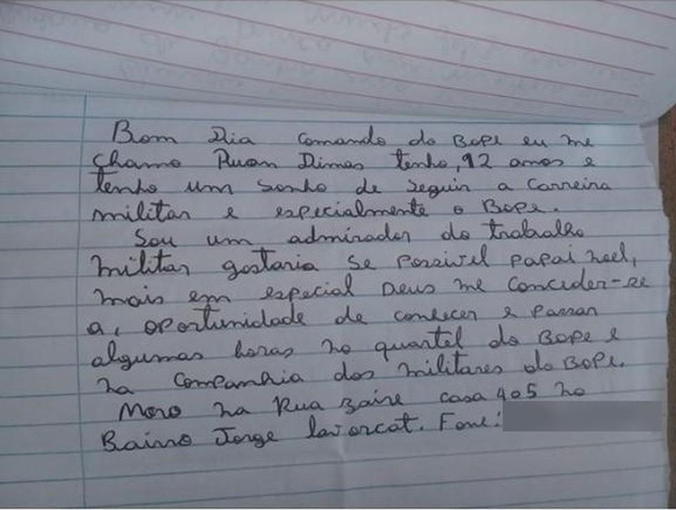 Ruan Dimas escreveu carta para Papai Noel e ganhou visita do Bope — Foto: Arquivo pessoal