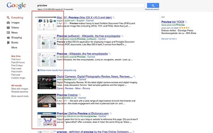SearchPreview exibe miniaturas dos resultados em uma pesquisa (Foto: Reprodução/SearchPreview)