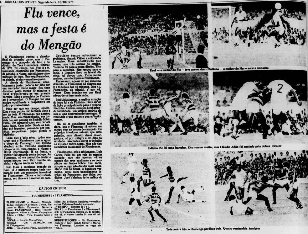 """""""Jornal dos Sports"""" destaca a Taça Guanabara do Fla em 16-10-1978 — Foto: Reprodução / Jornal dos Sports"""
