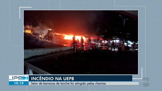 Incêndio atinge barraca de lanches na Central de Aulas da UEPB, em Campina Grande