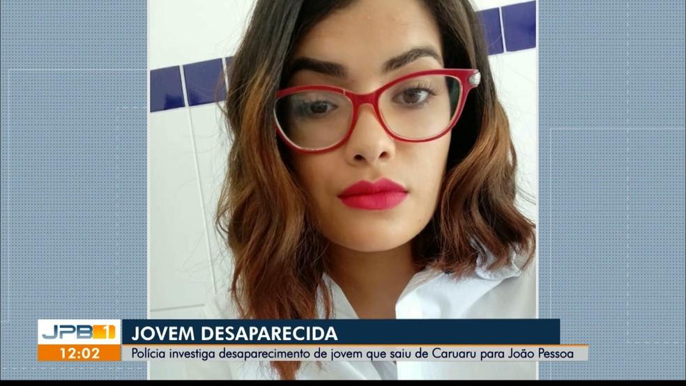 Patrícia Roberta, de 22 anos, é de Caruaru (PE) e está desaparecida após vir visitar amigo em João Pessoa — Foto: Reprodução/TV Cabo Branco