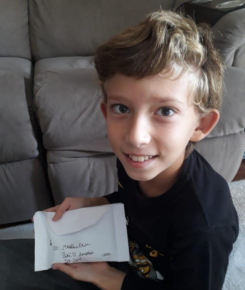 Mathias Krein doou R$ 337 para o hospital da cidade. — Foto: Arquivo pessoal