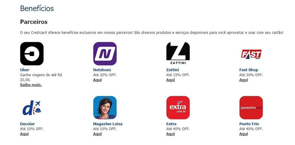 Credicard Zero tem descontos em parceiros — Foto: Reprodução/Bruno Soares
