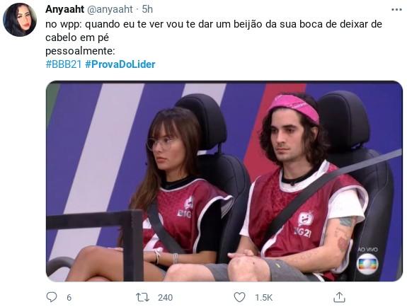 Internauta faz meme com prova do líder do 'BBB' 21 (Foto: Reprodução)