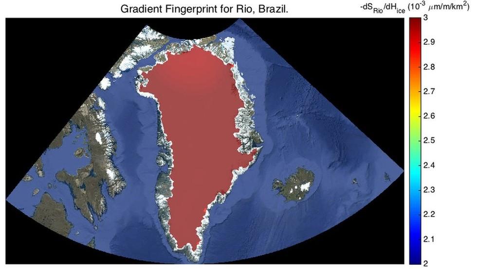 O nível do mar no Rio seria fortemente modificado pela dissolução das geleiras na Groenlândia (Foto: JPL Nasa)