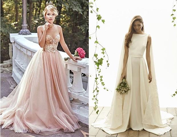Vestidos de noiva champanhe e modelos com capa (Foto: Reprodução / Pinterest)