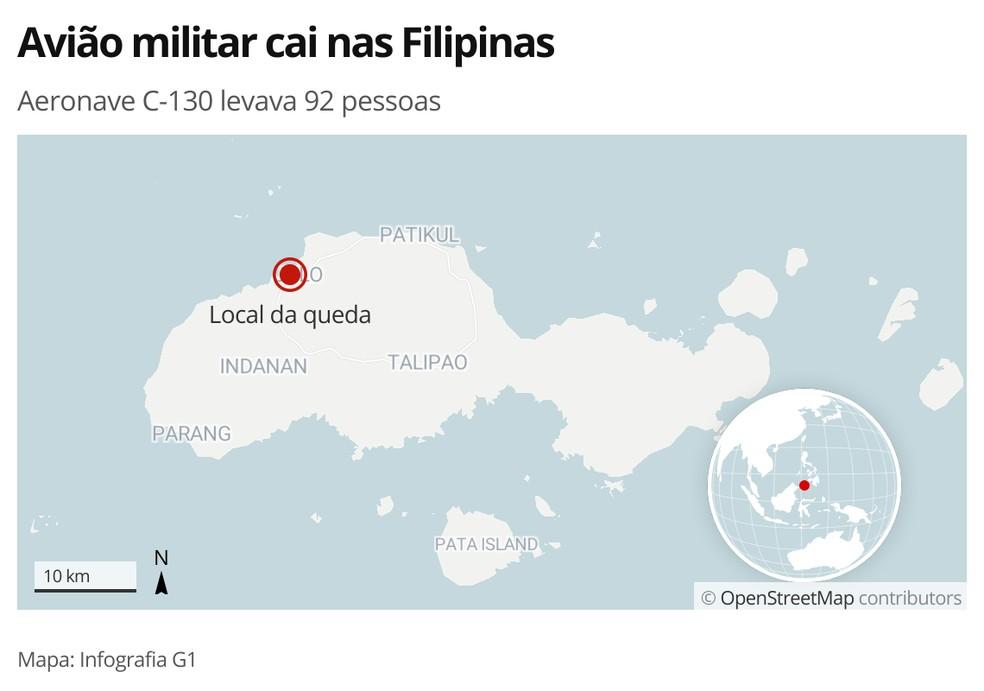 Avião militar cai nas Filipinas — Foto: Infografia/G1