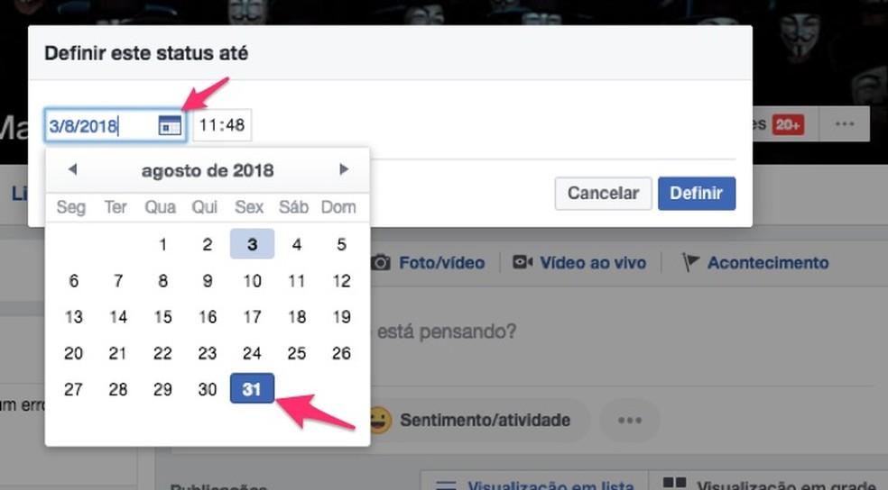Ação para escolher uma data de expiração personalizada para uma biografia em perfil do Facebook (Foto: Reprodução/Marvin Costa)