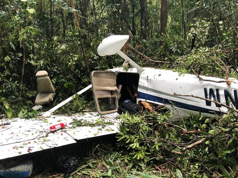 Aeronave foi encontrada próximo a garimpo no domingo (24) — Foto: Divulgação/ Polícia Civil