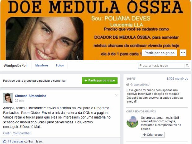 Página foi criada por amigas com a intenção de encontrar doador compatível (Foto: Reprodução Facebook)