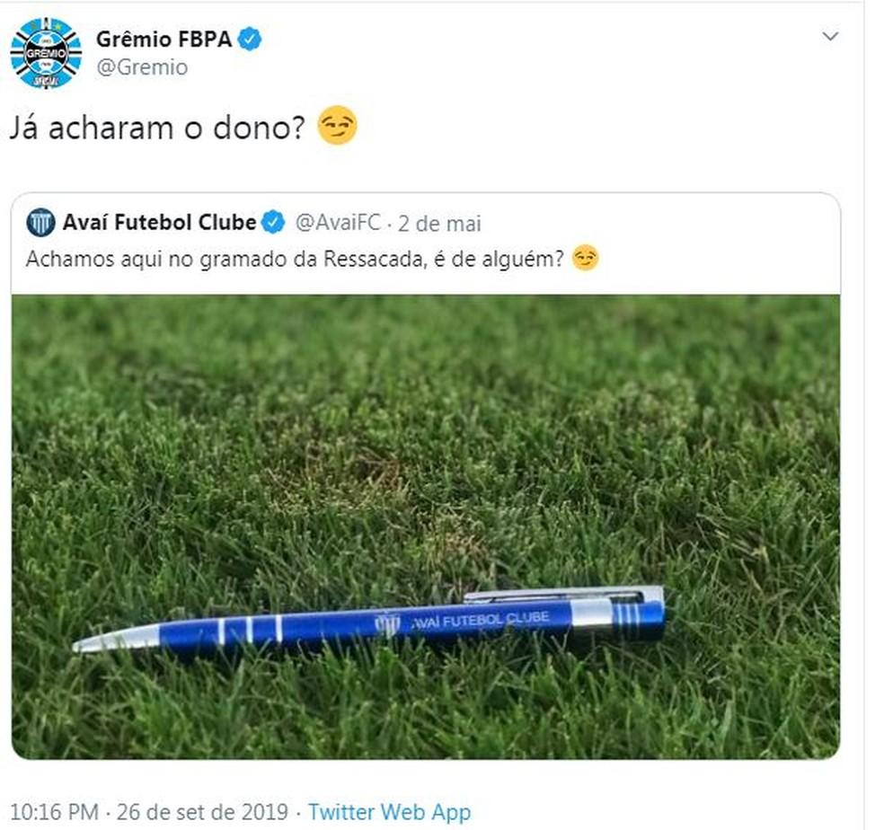 Grêmio responde a corneta do Avaí no Twitter — Foto: Reprodução / Twitter