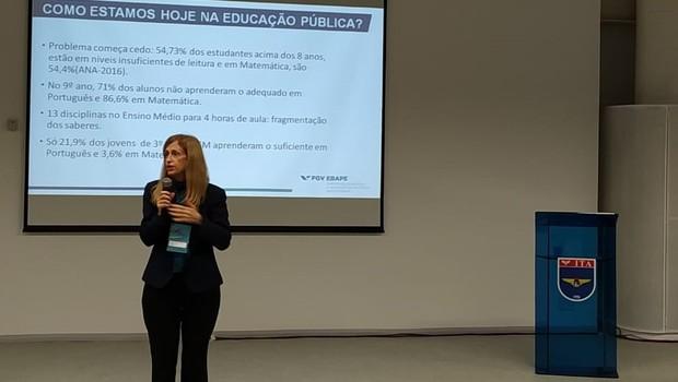 Cláudia Costin, diretora do Centro de Excelência e Inovação em Políticas Educacionais da FGV-RJ, durante o EEF (Foto: Redação)