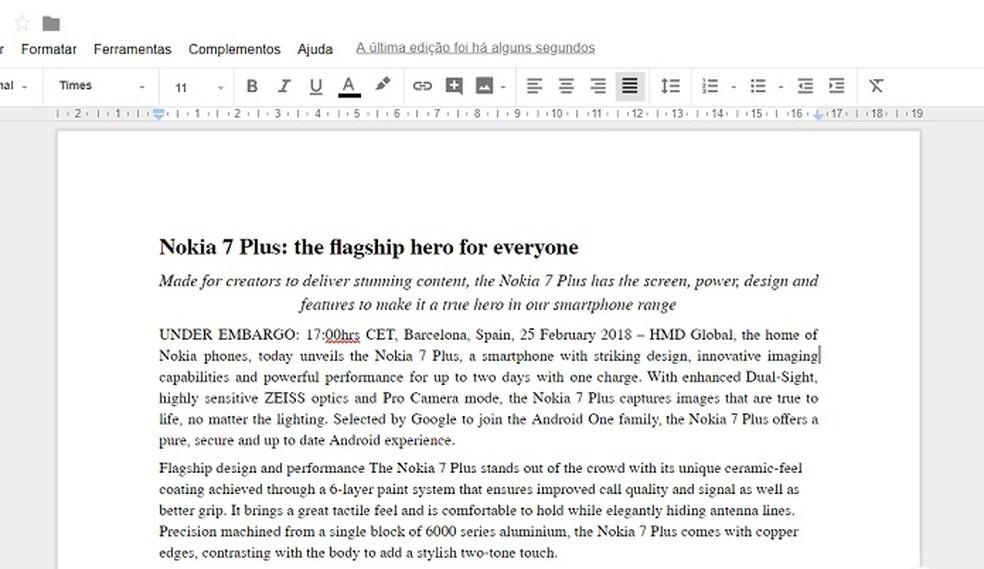 PDF pode ser editado no Google Docs — Foto: Reprodução/Gabriel Ribeiro