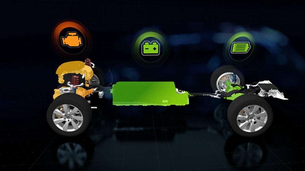 Carros híbridos podem funcionar com o motor só elétrico, só com combustível ou com os dois combinados — Foto: Divulgação