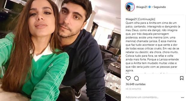Thiago Magalhães postou superdeclaração nos 25 anos de Anitta (Foto: Reprodução/Instagram)