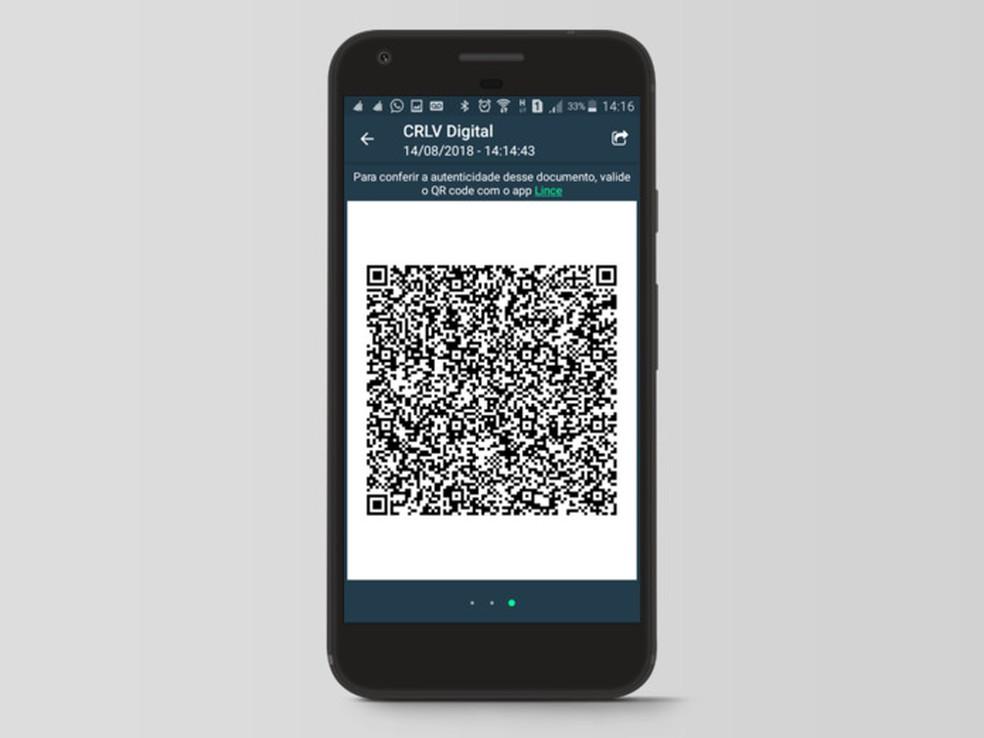 CRLV Digital pode ter suas informações validadas através de um QR Code — Foto: Divulgação/DENATRAN