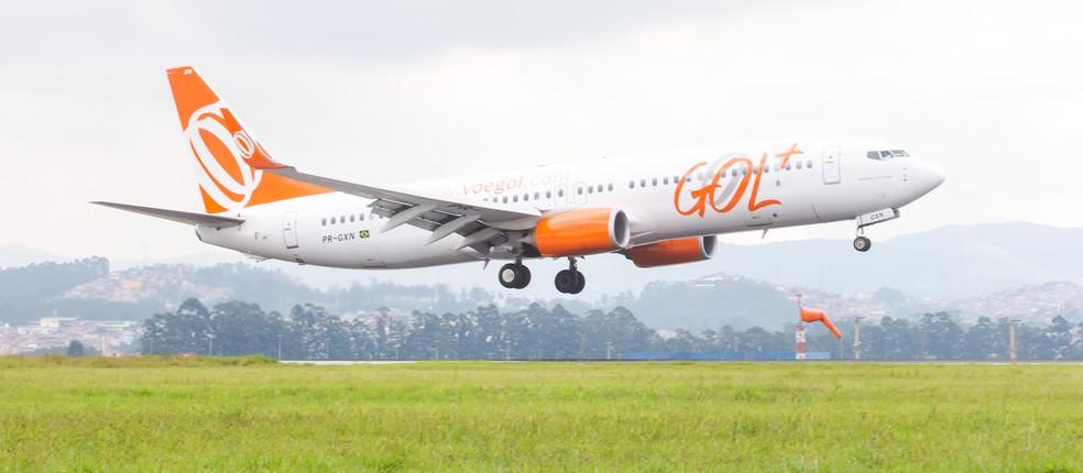 Avião da companhia aérea Gol, semelhante ao Boeing 737 envolvido em incidente no Paraná — Foto: Celso Tavares/G1