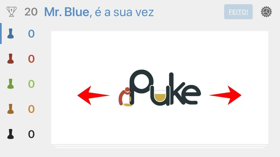 Revele uma carta com desafio no iPuke — Foto: Reprodução/Rodrigo Fernandes