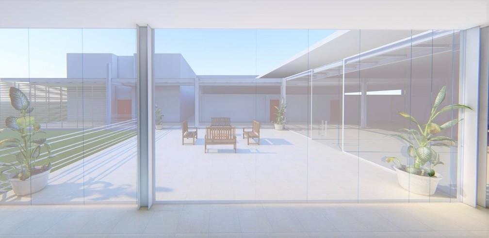 Isolamento dos corredores com placas de vidro está previsto no projeto — Foto: TJMT/ Divulgação