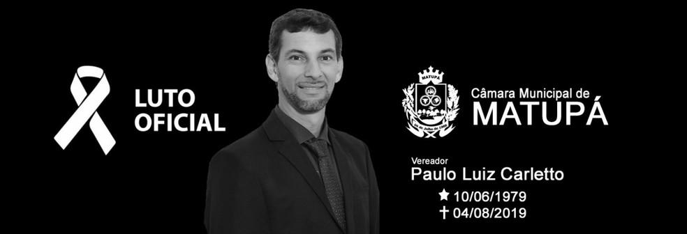 Paulo Luis Carletto, de 40 anos, morreu após queda em voo de parapente em Matupá — Foto: Câmara de Vereadores de Matupá (MT)