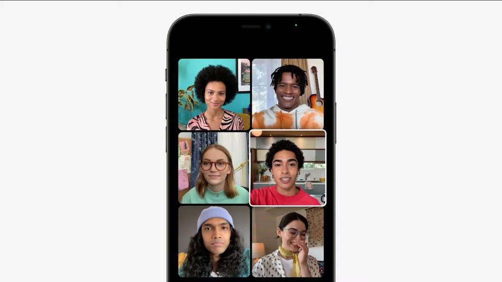 iOS 15: FaceTime ganha modo de visualização com grade — Foto: Reprodução/Apple