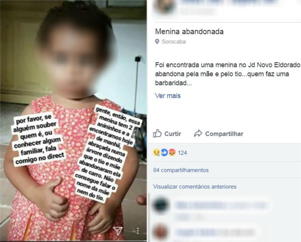 Menina foi localizada suja em uma rua de Sorocaba (Foto: Reprodução/Facebook)