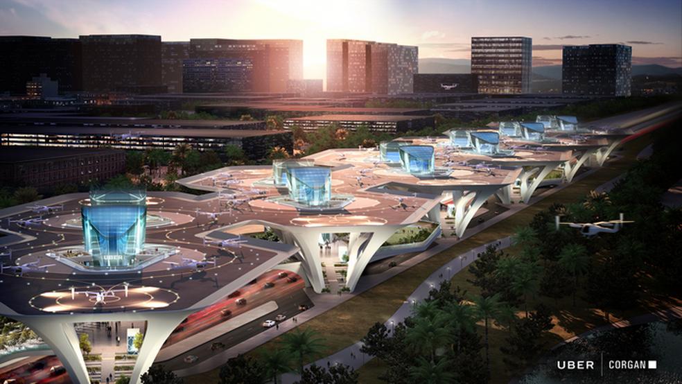 """Proposta do uberAIR inclui estações para pousos e decolagens; este é o projeto """"Connect"""" (Foto: Divulgação/Uber)"""