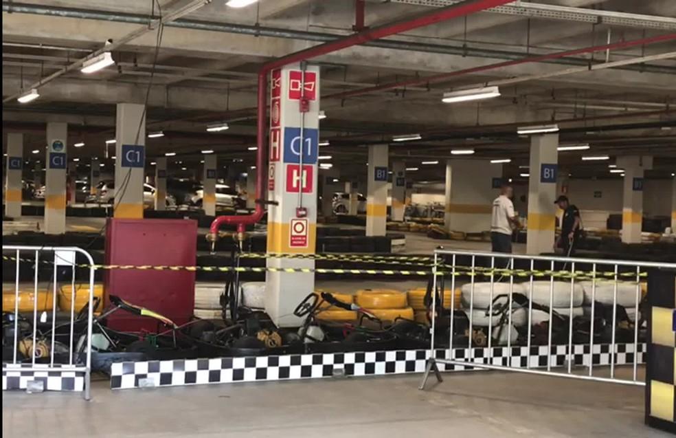 Pista de kart foi periciada pelo Instituto de Criminalística após o acidente — Foto: Isabela Veríssimo/G1