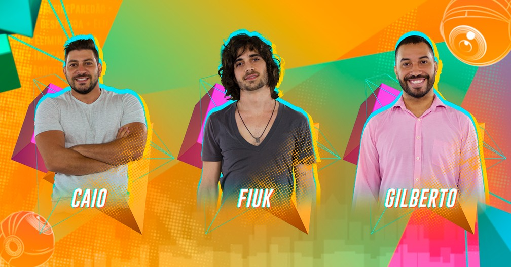 Caio, Fiuk e Gilberto disputam o 12º Paredão do BBB21 — Foto: Gshow