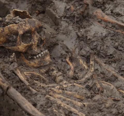 Esqueletos encontrados perto de castelo do século 14 intrigam arqueólogos