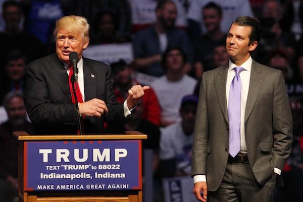 Donald Trump e um dos filhos, Donald Trump Jr. (Foto: Getty Images)